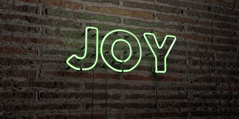 JOY -Realistic Neon Sign on Brick Wall background - 3D rendered royalty free stock image. Can be used for online banner ads and direct mailers..