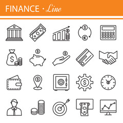 Thin line icons set.  for business, management, finance, st