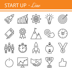 Start-up project- outline web icon set.