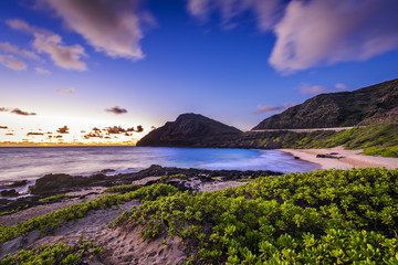 Beautiful sunrise at Makapuu Beach on Oahu, Hawaii