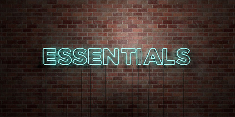 ESSENTIALS - fluorescent Neon tube Sign on brickwork - Front view - 3D rendered royalty free stock picture. Can be used for online banner ads and direct mailers.. Wall mural