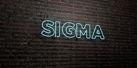 SIGMA -Realistic Neon Sign on Brick Wall background - 3D rendered royalty free stock image. Can be used for online banner ads and direct mailers..