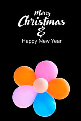 Merry Christmas and Happy New Year text on color background with