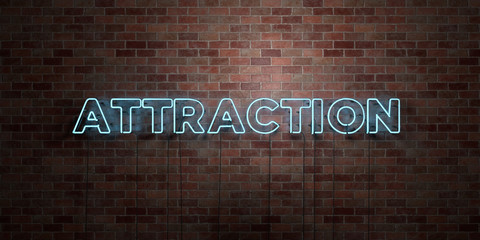 ATTRACTION - fluorescent Neon tube Sign on brickwork - Front view - 3D rendered royalty free stock picture. Can be used for online banner ads and direct mailers.. Wall mural