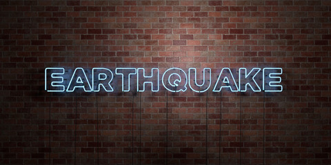 EARTHQUAKE - fluorescent Neon tube Sign on brickwork - Front view - 3D rendered royalty free stock picture. Can be used for online banner ads and direct mailers..
