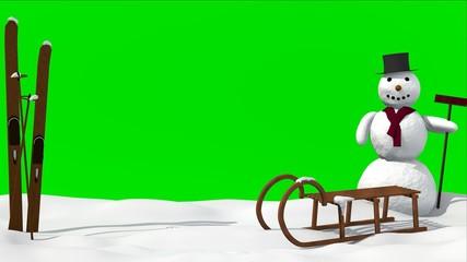 Wintermotiv mit Schlitten,Schneemann und green screen Hintergrund