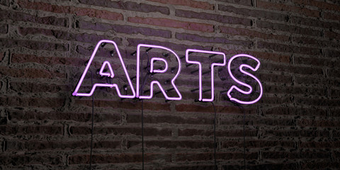 ARTS -Realistic Neon Sign on Brick Wall background - 3D rendered royalty free stock image. Can be used for online banner ads and direct mailers..
