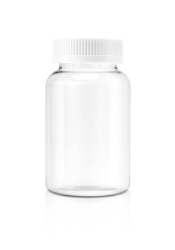 Blank clear glass supplement bottle isolated on white background