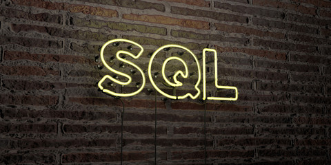 SQL -Realistic Neon Sign on Brick Wall background - 3D rendered royalty free stock image. Can be used for online banner ads and direct mailers..