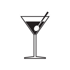 Simple flat martini glass icon, grayscale on white background