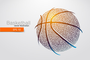 Silhouette of a basketball ball from triangles.