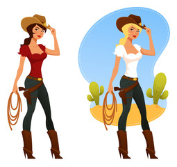 cute cartoon rodeo girls with lasso and cowboy hat