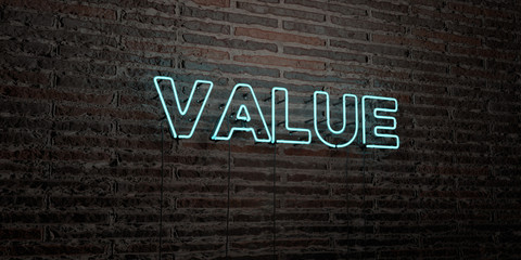 VALUE -Realistic Neon Sign on Brick Wall background - 3D rendered royalty free stock image. Can be used for online banner ads and direct mailers..