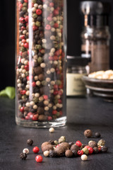 Whole Peppercorns in spice jar