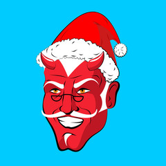 Krampus Satan Santa. Claus red demon with horns. Christmas monst