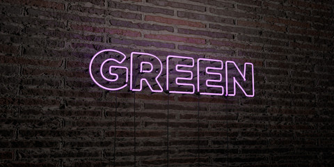 GREEN -Realistic Neon Sign on Brick Wall background - 3D rendered royalty free stock image. Can be used for online banner ads and direct mailers..