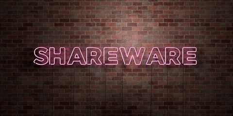 SHAREWARE - fluorescent Neon tube Sign on brickwork - Front view - 3D rendered royalty free stock picture. Can be used for online banner ads and direct mailers..