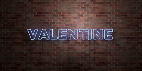 VALENTINE - fluorescent Neon tube Sign on brickwork - Front view - 3D rendered royalty free stock picture. Can be used for online banner ads and direct mailers..