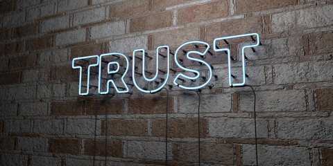 TRUST - Glowing Neon Sign on stonework wall - 3D rendered royalty free stock illustration.  Can be used for online banner ads and direct mailers..