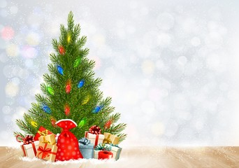 Holiday Christmas background with gift boxes and Christmas tree.