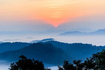the morning in the mist of winter in Phu bo bit ,Loei Thailand