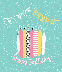 Vector cute happy birthday card with textured candles. Festive illustration.