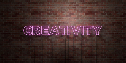 CREATIVITY - fluorescent Neon tube Sign on brickwork - Front view - 3D rendered royalty free stock picture. Can be used for online banner ads and direct mailers..