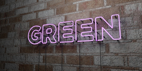 GREEN - Glowing Neon Sign on stonework wall - 3D rendered royalty free stock illustration.  Can be used for online banner ads and direct mailers..