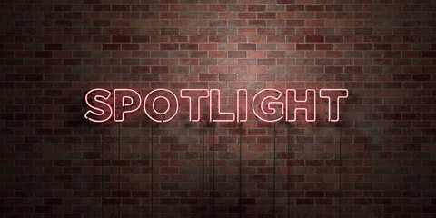 SPOTLIGHT - fluorescent Neon tube Sign on brickwork - Front view - 3D rendered royalty free stock picture. Can be used for online banner ads and direct mailers..