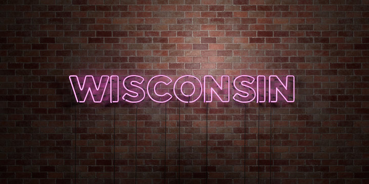 WISCONSIN - fluorescent Neon tube Sign on brickwork - Front view - 3D rendered royalty free stock picture. Can be used for online banner ads and direct mailers..