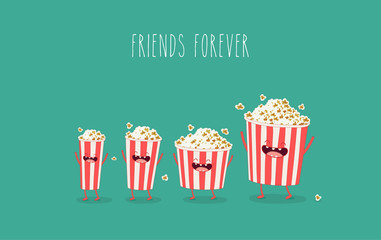 Funny popcorn in the box. Vector cartoon. Movies, cinema. Vector cartoon. fast food. Friends forever.