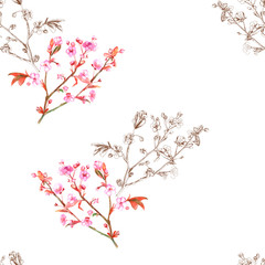 Watercolor floral seamless pattern with spring blossom, branch with pink flowers (cherry, plum, almonds), brown outline, hand draw sketch and watercolor painting on white background