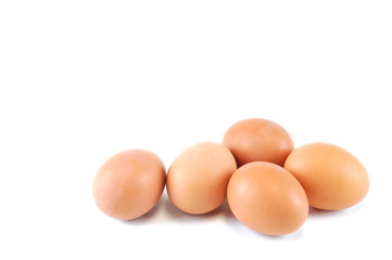 fresh chicken eggs isolated on white background