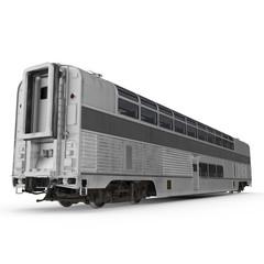 Modern doubledeck Railroad Wagon on white. 3D illustration