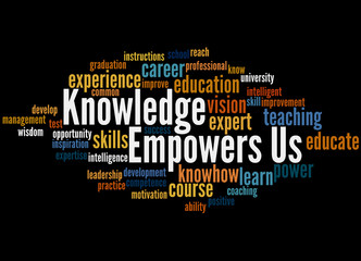 Knowledge Empowers Us, word cloud concept 3