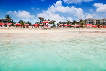 Fototapete - Umbrellas and chairs on Grace Bay Beach