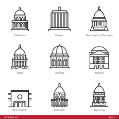 US State Capitols (Part 1) - Line Style Icons