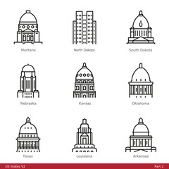 US State Capitols (Part 2) - Line Style Icons