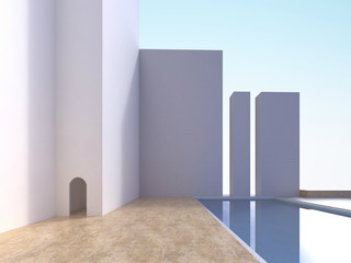 Modern Minimal Simple White wall and water pool out door open space