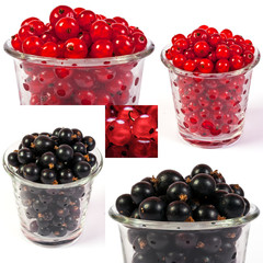 image set of red and black currant in a glass