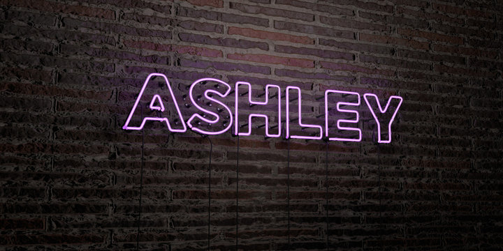 ASHLEY -Realistic Neon Sign on Brick Wall background - 3D rendered royalty free stock image. Can be used for online banner ads and direct mailers..