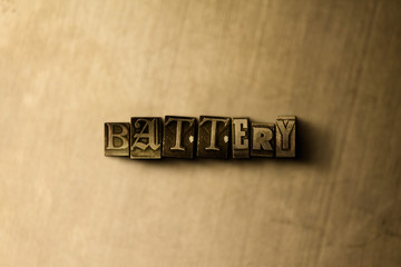 BATTERY - close-up of grungy vintage typeset word on metal backdrop. Royalty free stock - 3D rendered stock image.  Can be used for online banner ads and direct mail.