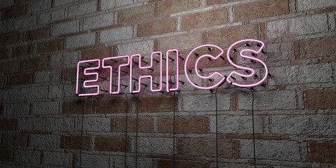 ETHICS - Glowing Neon Sign on stonework wall - 3D rendered royalty free stock illustration.  Can be used for online banner ads and direct mailers..