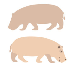 Hippo vector illustration style Flat set
