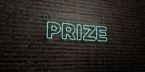 PRIZE -Realistic Neon Sign on Brick Wall background - 3D rendered royalty free stock image. Can be used for online banner ads and direct mailers..
