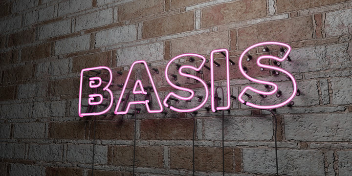 BASIS - Glowing Neon Sign on stonework wall - 3D rendered royalty free stock illustration.  Can be used for online banner ads and direct mailers..