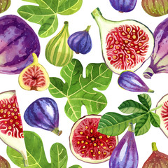 Seamless pattern of golden dried figs painted with watercolour