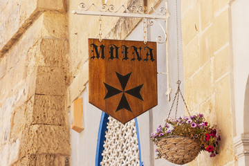 Sign of the ancient Maltese capital of Mdina