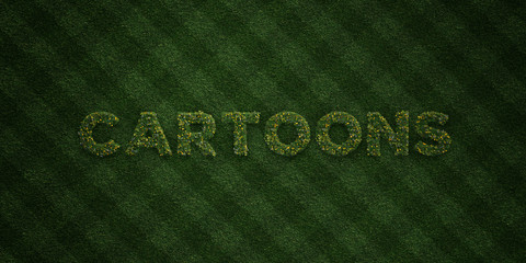 CARTOONS - fresh Grass letters with flowers and dandelions - 3D rendered royalty free stock image. Can be used for online banner ads and direct mailers..
