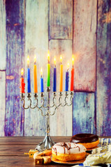 jewish symbol Hanukkah with menorah traditional